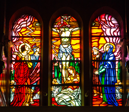 confessor: Paray Le Monial, France - September 13, 2016:  Shrine of St. Claude de la Colombiere in Paray-le-Monial, France, stained glass windows of the church