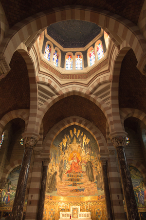 tabernacle: Paray Le Monial, France - September 13, 2016:  Shrine of St. Claude de la Colombiere in Paray-le-Monial, France, mosaic behind the altar inside the church