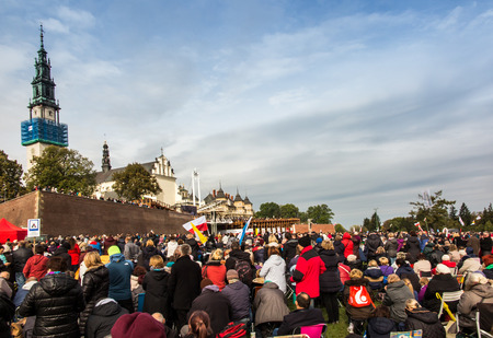 vigil: Czestochowa, Poland - October 15, 2016: United Atonement, all-day prayer meeting people from all over Polish, who repented of his sins and his compatriots before the top Jasna Gora.