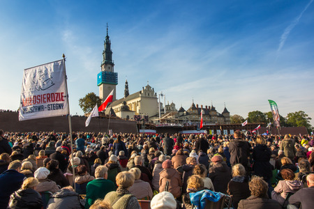 czestochowa: Czestochowa, Poland - October 15, 2016: United Atonement, all-day prayer meeting people from all over Polish, who repented of his sins and his compatriots before the top Jasna Gora.