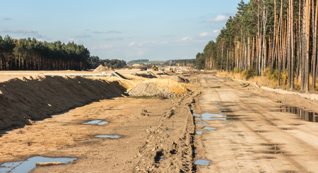demarcation: earthworks for the construction of the A1 motorway in Poland