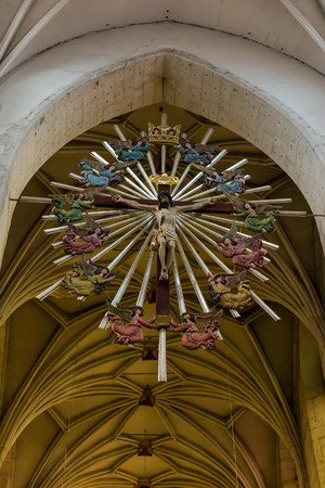 Krakow, Poland - October 2, 2016, The Cross of the angels suspended under the dome in the church of St. Catherine in Krakow, Poland