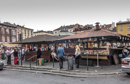 jewish houses: Krakow, Poland - October 2, 2016: Former market Kazimierz, now the marketplace, the Jewish Quarter, New Square Editorial