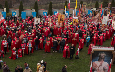 Krakow, Poland - November 19, 2016: The ceremony of enthronement of Jesus Christ the King Polish at the Basilica of Mercy in Krakow Lagiewniki