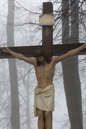 Crosses Jesus and the two thieves on Calvary. International Shrine of St. Anne, Mount St. Anna, Poland
