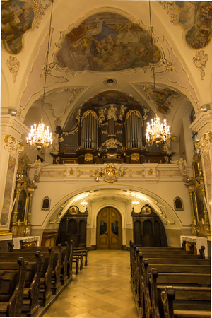 Mount St. Anna, Poland, February 4, 2017: Inside the Basilica of St. Anna in the international sanctuary of St. Anna in Poland