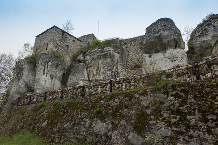 MORSKO, POLAND - May 03, 2017: Castle Bakowiec - the remains of a knights castle from the XIV century, lying on the Krakow-Czestochowa Jura, built in the system of the so-called Eagles Nests