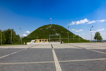 Piekary Slaskie, Poland - May 14, 2017: Mound of Liberation - a mound in Piekary Slaskie cast in 1932-1937 symbol of struggle for Polishness and a memorial of the fight of Silesian insurgents