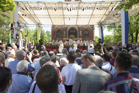 procession: Piekary Sl, Poland, May 28, 2017: Pilgrimage of men and young men to the Shrine of Mary, Mother of Love and Social Justice