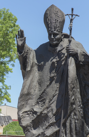 Piekary Sl, Poland, May 28, 2017: Monument of St. John Paul II in Piekary Slaskie in Poland, at Calvary in the Shrine of Our Lady
