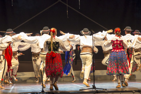 Folk dance in highland costumes from the region of Poland