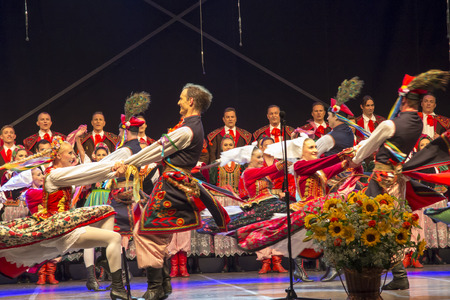 Koszecin, Poland, July 2, 2015: Concert of Song and Dance Ensemble SLASK on the occasion of the end of 64 years of activity,