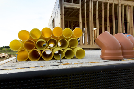 Pipes with cutouts prepared for the construction of a ground heat exchanger Banco de Imagens