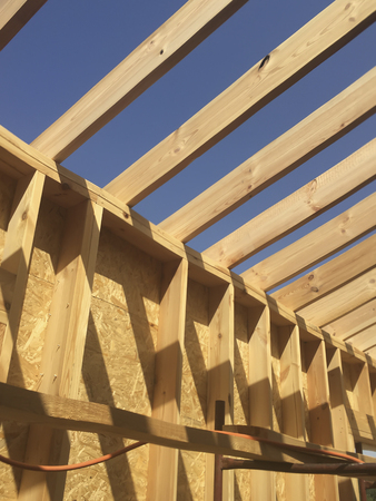 Building a house in skeleton technology, stage before installing thermal insulation
