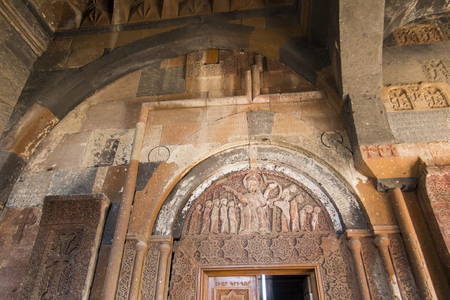 Ohanavan, Armenia, September 15, 2017: Part of the wall with ornaments in the monastery in Hovhannavank, Ohanavan