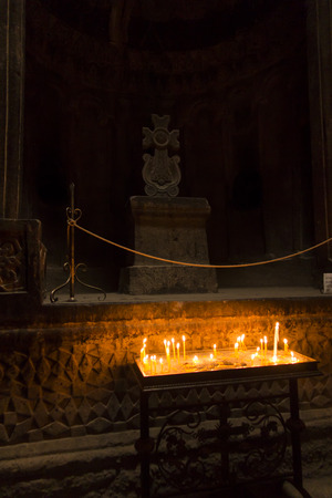 Candles in the Geghard church in Armenia