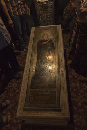 Etchmiadzin, Armenia, September 17, 2017: Tombstone of Saint Hripsime in the church of Saint Hripsime in Etchmiadzin, Armenia.