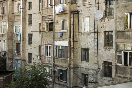Frequent appearance of the facade of a residential building in Yerevan, the capital of Armenia as a background Stock Photo