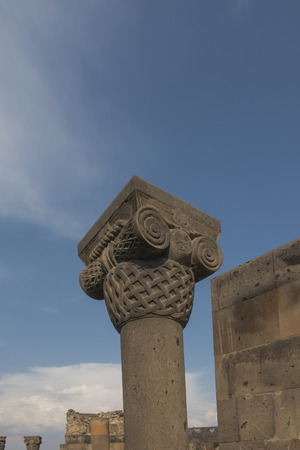 Columns at Zvartnots (celestial angels) temple ruins near Echmiadzin ,Armenia