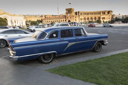 Yerevan, Armenia - September 17, 2017: Luxury, vintage car GAZ Chaika Soviet production on the Republic Square in Yerevan. The GAZ Chaika is a luxury automobile from the Soviet Union made by GAZ (translated as Gorky Automobile Plant).