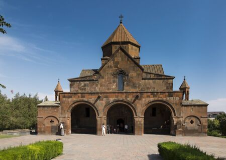 Facade of the Church with a three-nave domed Basilica of St. Gayane in Echmiadzin, Armenia Editorial
