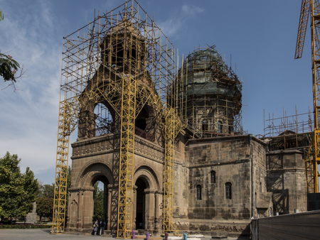 Repair of the tower of the oldest cathedral in the world, Etchmiadzin cathedral in Armenia in September 2017. Stock Photo