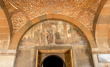 Fresco of the Birth of Christ in the temple of the Martyr Gayane in Echmiadzin, Armenia Stock Photo