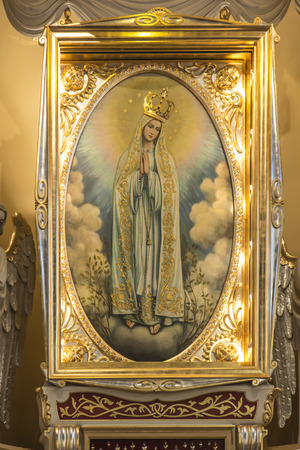 Turza Slaska, Poland, 07 October 2017: Picture of Our Lady of Fatima from the main altar at the Sanctuary in Turza Slaska in Poland, the first church in Poland dedicated to Our Lady of Fatima