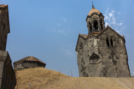 Three navesthe bell tower with the umbrella dome in the monastery of Gregory the Illuminator in Armenian village of Haghpat Stock Photo