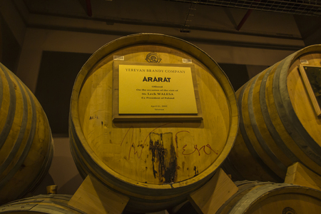 YEREVAN, ARMENIA -21 September 2017: Noy (Ararat) Brandy factory museum visit with congac tasting. The barrel offered to the President of Poland, Lech Walesa