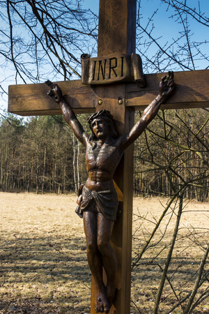 cross by a country road in southern Poland Stock Photo
