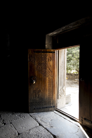 old door in a monastery complex in Haghpat Armenia