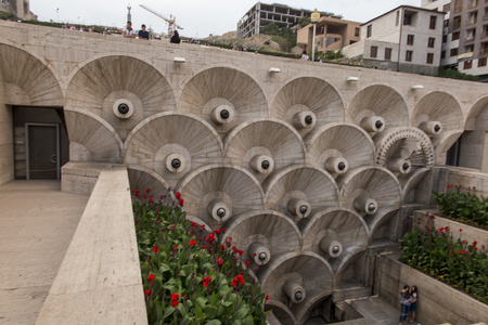 YEREVAN, ARMENIA - SEPTEMBER 21, 2017: Yerevan Cascade and the giant stairway in Yerevan Armenia. One of the most important sights in Yerevan completed in 1980