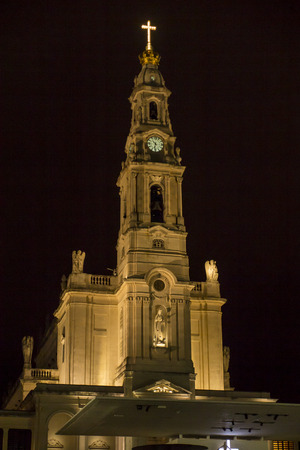Sanctuary of Our Lady of Fatima with the Rosary Basilica at night, Fatima in Portugal