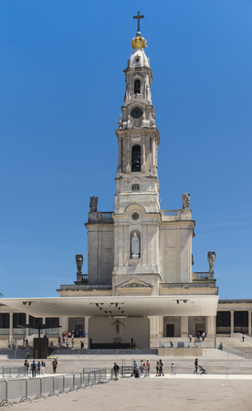 Sanctuary of Fatima in Portugal. Square and Basilica of Our Lady of Fatima (Rosary) during good weather