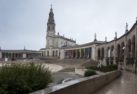 The Sanctuary of Fatima. Square and Basilica of Our Lady of Fatima (Rosary) during the bad weather Reklamní fotografie