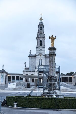The Sanctuary of Fatima. Square and Basilica of Our Lady of Fatima (Rosary) during the bad weather 스톡 콘텐츠