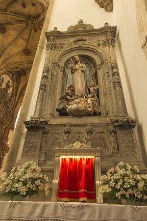 Coimbra, Portugal - June 11, 2018: View of the old Santa Cruz church, altar
