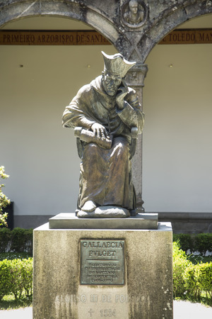 Santiago de Compostela, Galicia, Spain, June 14, 2018: Statue of Alonso III Fonseca, archbishop of Santiago from 1507 to 1523 and a major supporter of the University of Santiago de Compostela, by Galician sculptor Ramon Conde Bermudez