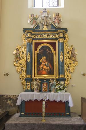 Toszek, Poland, August 28, 2018: Interior of the old parish church inToszek near Opole in Poland