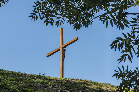 Chelm, Poland, Calvary around the Basilica of the Blessed Virgin Mary in Chelm, Cross on the hill.