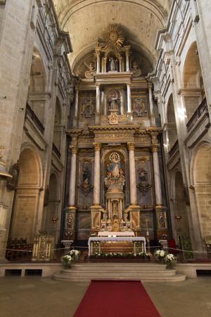 Santiago de Compostela, Spain, June 14, 2018: Interior of the Franciscan church of Santiago de Compostela in Spain