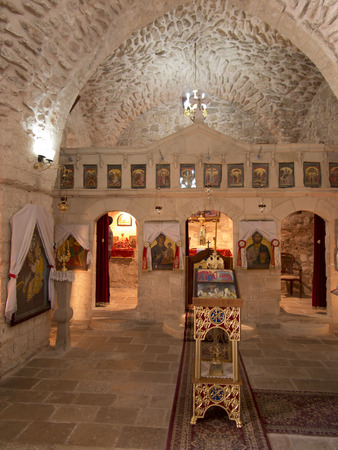 Burqin, PALESTINE - 11 July 2015: A fragment of the interior of a very old Christian church at Burqin Arab territories in Palestine. Traditional place described in Bibii healing 10 lepers