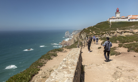 View at Cabo da Roca Lighthouse (Portuguese: Farol de Cabo da Roca) which is Portugals (and continental Europes) most westerly point.