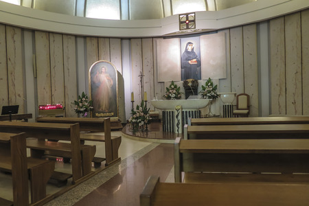 Krakow, Poland, August 15, 2018: Interior of the well-known Sanctuary of the Divine Mercy in Lagiewniki - lower chapels. Millions of pilgrims from around the world visit it every year. Editorial