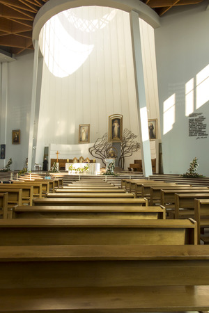 Krakow, Poland, August 15, 2018: Interior of the well-known Sanctuary of the Divine Mercy in Lagiewniki. Millions of pilgrims from around the world visit it every year.