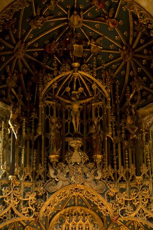 Coimbra, Portugal, June 11, 2018: Interior of the Old Cathedral of Coimbra, (Se Velha de Coimbra)