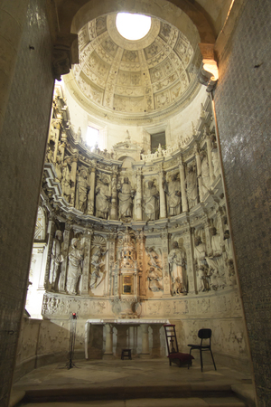 Coimbra, Portugal, June 11, 2018: Old Cathedral of Coimbra (Sé Velha de Coimbra): Detail of the side chapel
