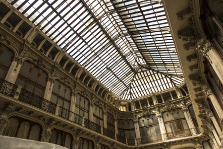 Turin, Italy, 27 June 2019: the ceiling of the historical building gallery subalpina in Turin, Italy Editorial