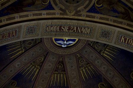 Piekary Slaskie Poland May 26, 2019.: The interior of the Basilica of Our Lady of Piekary with a view of a dove or symbol of the Holy Spirit on the ceiling